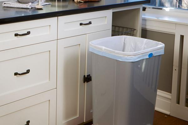 Ultra Strong Drawstring Kitchen trash bag in trash can.