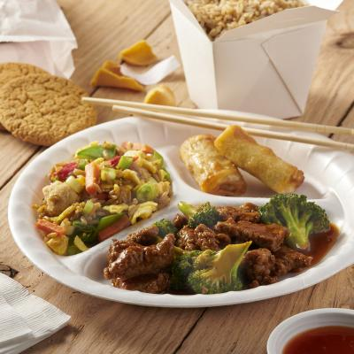 Everyday Foam Compartment Plate with Chinese Takeout